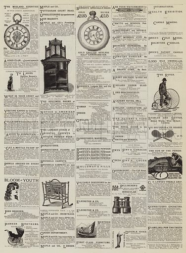 Page of Advertisements. Illustration for The Graphic, 23 August 1884.