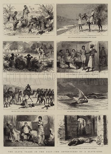The Slave Trade in the East, the Adventures of a Slave-Girl. Illustration for The Graphic, 13 September 1884.
