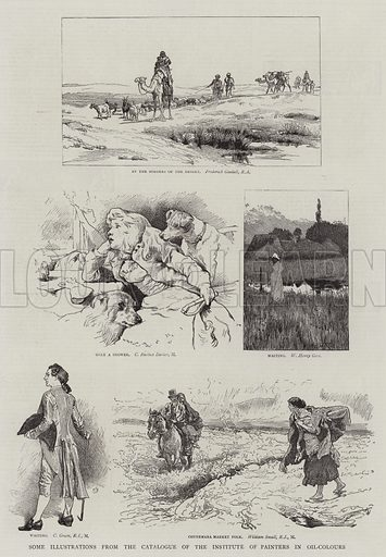 Some Illustrations from the Catalogue of the Institute of Painters in Oil-Colours. Illustration for The Graphic, 6 December 1884.