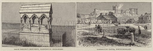 Bamborough, Northumberland. Illustration for The Graphic, 27 December 1884.
