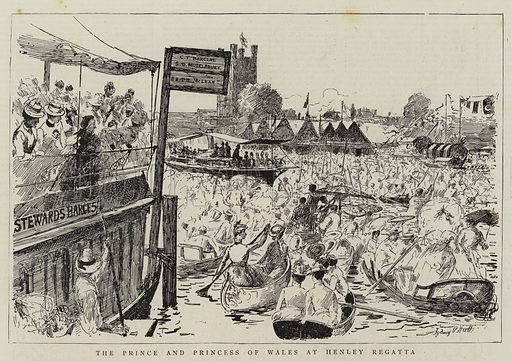 The Prince and Princess of Wales at Henley Regatta. Illustration for The Graphic, 9 July 1887.