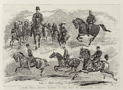 Some Well Known Riders in the Bois de Boulogne, Paris. Illustration for The Graphic, 8 October 1887.