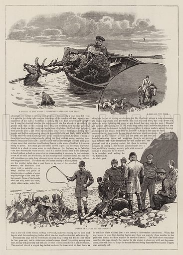 The Chase of the Wild Red Deer on Exmoor. Illustration for The Graphic, 28 September 1889.