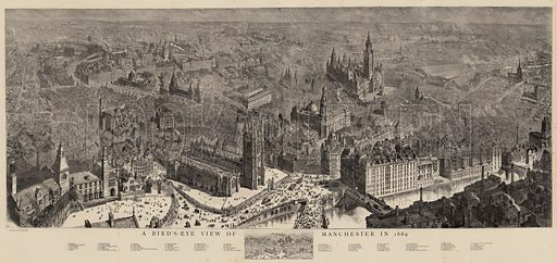 A Bird's-Eye View of Manchester in 1889. Illustration for The Graphic, 9 November 1889.