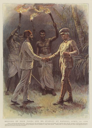 Meeting of Emin Pasha and Mr Stanley at Kavalli, 29 April 1888. Illustration for The Graphic, 1890.