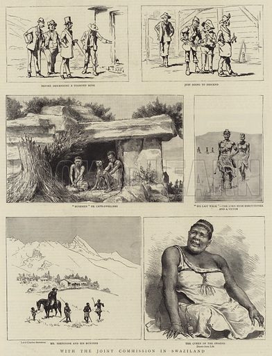 With the Joint Commission in Swaziland. Illustration for The Graphic, 1 March 1890.