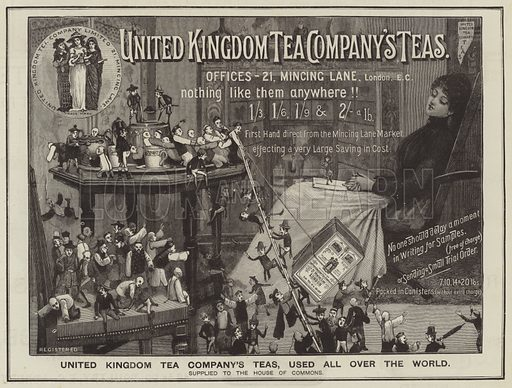 Advertisement, United Kingdom Tea Company. Illustration for The Graphic, 29 March 1890.