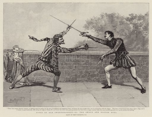 Types of Old Swordsmanship II, the Sword and Dagger Duel. Illustration for The Graphic, 6 October 1894.