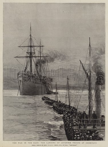 The War in the East, the Landing of Japanese Troops at Chemulpo. Illustration for The Graphic, 20 October 1894.