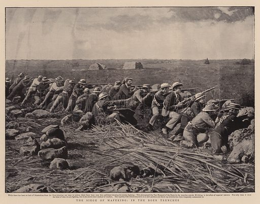 A Siege of Mafeking, in the Boer Trenches. Illustration for The Graphic, 31 March 1900.