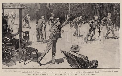 In the Doctor's Absence, a Cripples' Handicap open to the Wounded. Illustration for The Graphic, 13 January 1900.
