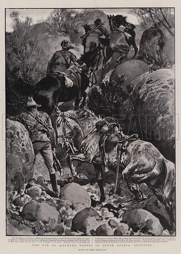 The Use of Mounted Troops in South Africa, Scouting. Illustration for The Graphic, 10 February 1900.