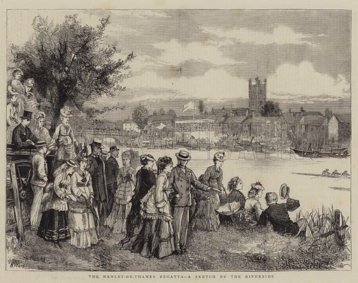 The Henley-on-Thames Regatta, a Sketch by the Riverside. Illustration for The Graphic, 5 July 1873.