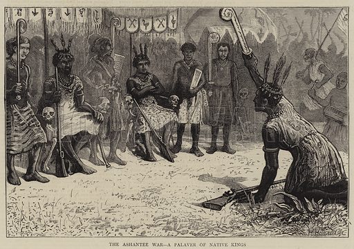The Ashantee War, a Palaver of Native Kings. Illustration for The Graphic, 27 December 1873.