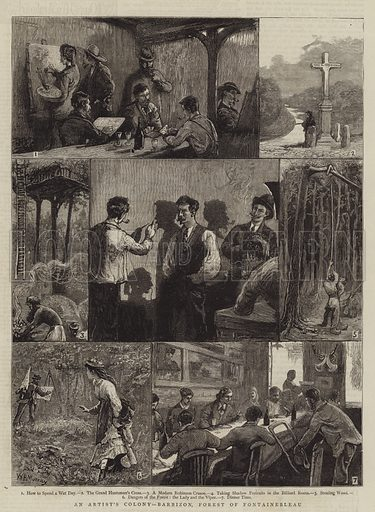 An Artist's Colony, Barbizon, Forest of Fontainebleau. Illustration for The Graphic, 25 September 1875.