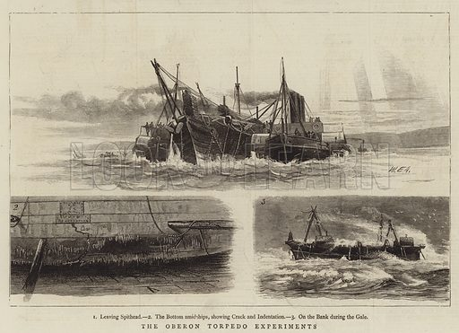 The Oberon Torpedo Experiments. Illustration for The Graphic, 4 December 1875.