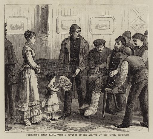 Presenting Osman Pasha with a Bouquet on his Arrival at his Hotel, Bucharest. Illustration for The Graphic, 19 January 1878.