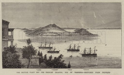 The British Fleet off the Princes' Islands, Sea of Marmora, Sketched from Prinkipo. Illustration for The Graphic, 9 March 1878.