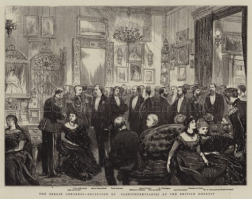 The Berlin Congress, Reception of Plenipotentiaries at the British Embassy. Illustration for The Graphic, 29 June 1878.
