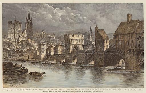 The Old Bridge over the Tyne at Newcastle, built in the 13th Century, destroyed by a Flood in 1771, a Facsimile Model of this Bridge has been erected in the Grounds of the Newcastle Jubilee Exhibition. Illustration for The Graphic, 1887.