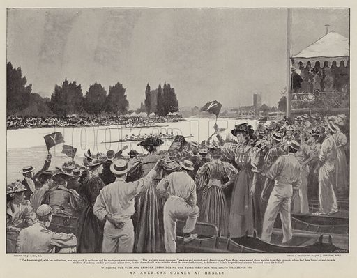 An American Corner at Henley. Illustration for The Graphic, 18 July 1896.