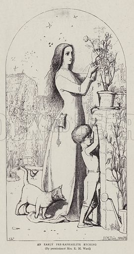 An Early Pre-Raphaelite Etching. Illustration for The Graphic, 22 August 1896.
