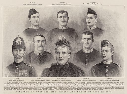 A Mother of Warriors, Mrs Keveth and her Seven Soldier Sons. Illustration for The Graphic, 12 September 1896.