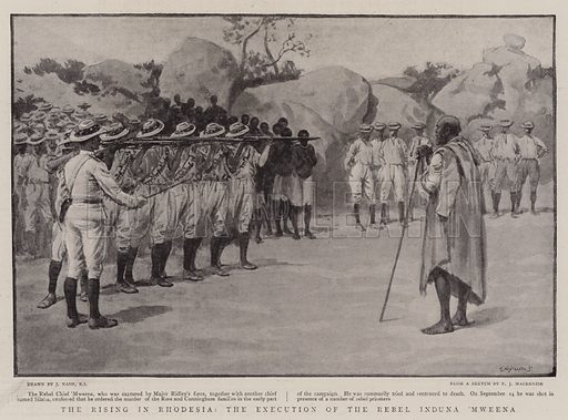 The Rising in Rhodesia, the Execution of the Rebel Induna 'Mweena. Illustration for The Graphic, 7 November 1896.