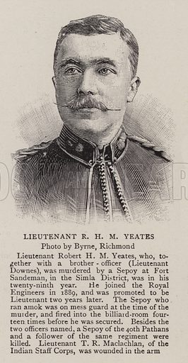 Lieutenant R H M Yeates. Illustration for The Graphic, 7 November 1896.