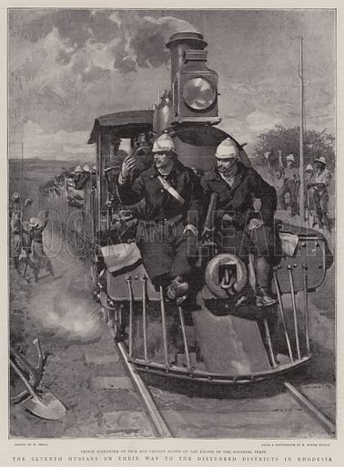 The Seventh Hussars on their Way to the Disturbed District in Rhodesia. Illustration for The Graphic, 12 December 1896.