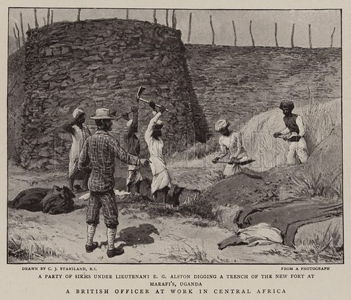 A British Officer at Work in Central Africa. Illustration for The Graphic, 19 December 1896.