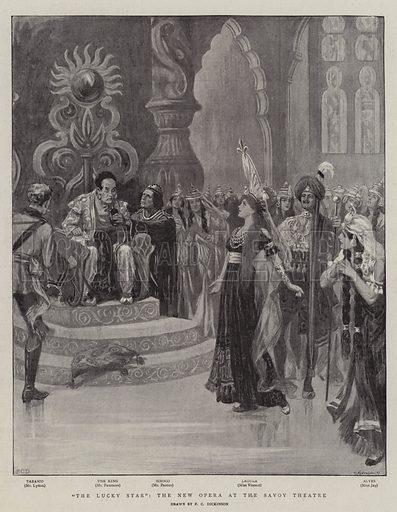 """""""The Lucky Star"""", the New Opera at the Savoy Theatre. Illustration for The Graphic, 14 January 1899."""