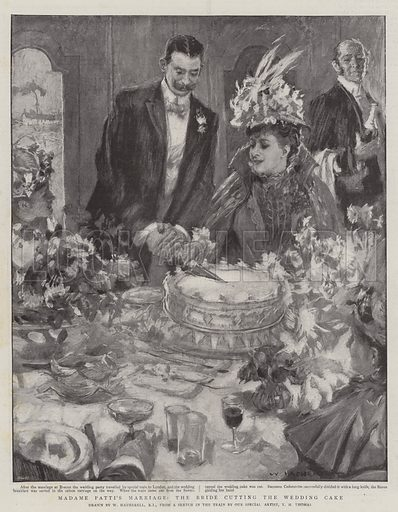 Madame Patti's Marriage, the Bride cutting the Wedding Cake. Illustration for The Graphic, 4 February 1899.