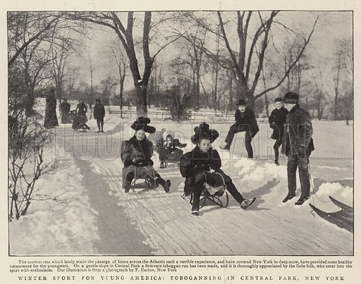 Winter Sport for Young America, toboganning in Central Park, New York