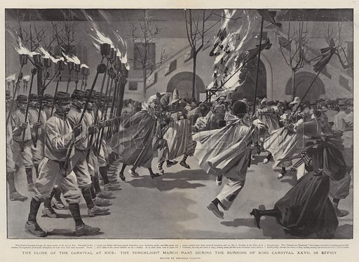 The Close of the Carnival at Nice, the Torchlight March Past during the Burning of King Carnival XXVII in Effigy. Illustration for The Graphic, 4 March 1899.