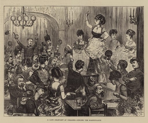 A Cafe Chantant at Chalons, singing the Marseillaise. Illustration for The Graphic, 3 September 1870.