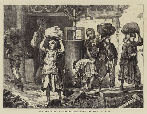 The Brickyards of England, Children carrying the Clay. Illustration for The Graphic, 1871.