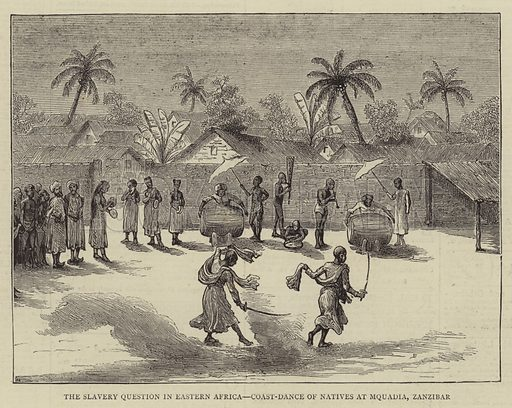 The Slavery Question in Eastern Africa, Coast-Dance of Natives at Mquadia, Zanzibar. Illustration for The Graphic, 15 March 1873.