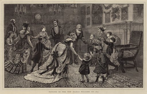 Dancing in the New Year, a Welcome to 1873. Illustration for The Graphic, 4 January 1873.