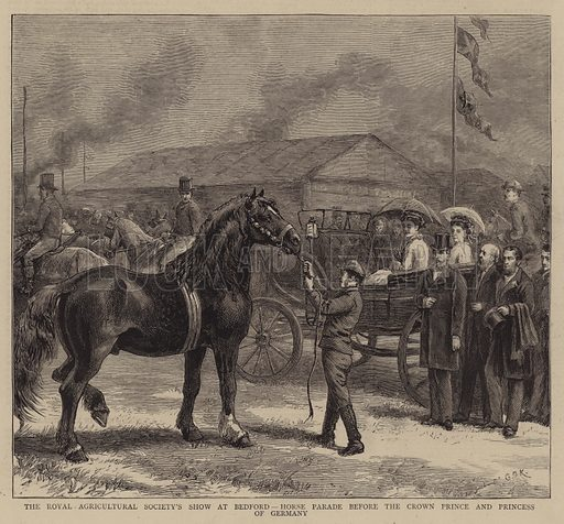 The Royal Agricultural Society's Show at Bedford, Horse Parade before the Crown Prince and Princess of Germany. Illustration for The Graphic, 25 July 1874.