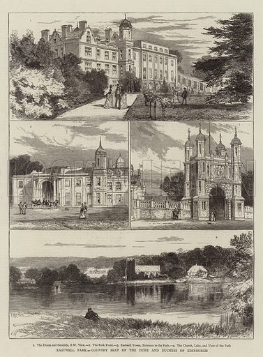 Eastwell Park, Country Seat of the Duke and Duchess of Edinburgh. Illustration for The Graphic, 21 November 1874.