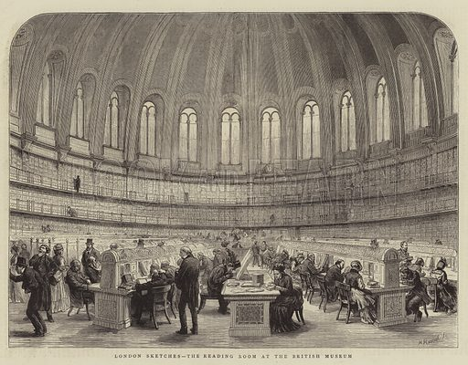 London Sketches, the Reading Room at the British Museum