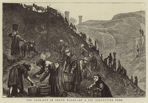 The Lock-Out in South Wales, on a Tip, collecting Fuel. Illustration for The Graphic, 20 February 1875.