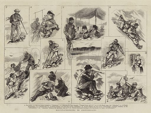 Mountaineering in Switzerland. Illustration for The Graphic, 4 October 1879.