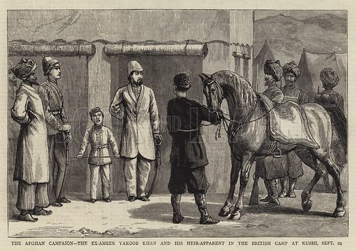 The Afghan Campaign, the Ex-Ameer Yakoob Khan and his Heir-Apparent in the British Camp at Kushi, 29 September. Illustration for The Graphic, 22 November 1879.