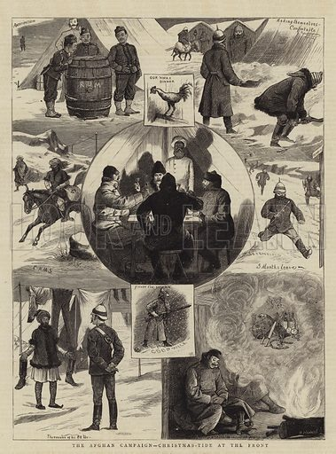 The Afghan Campaign, Christmas-Tide at the Front. Illustration for The Graphic, 27 December 1879.