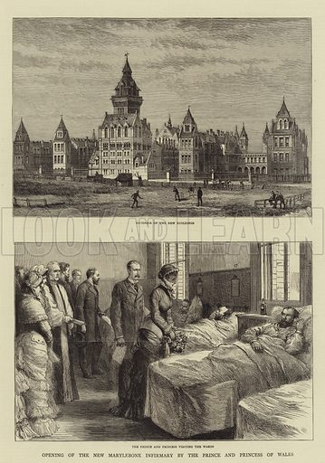 Opening of the New Marylebone Infirmary by the Prince and Princess of Wales. Illustration for The Graphic, 9 July 1881.
