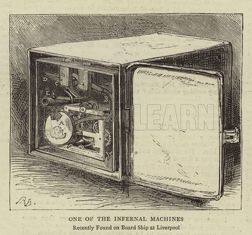 One of the Infernal Machines, recently found on Board Ship at Liverpool. Illustration for The Graphic, 6 August 1881.
