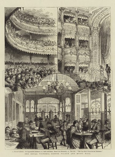 The Royal Victoria Coffee Palace and Music Hall. Illustration for The Graphic, 20 August 1881.