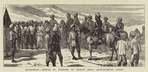 Afghanistan, Arrival of Fugitives at Chaman after Abdur-Rahman's Defeat. Illustration for The Graphic, 10 September 1881.